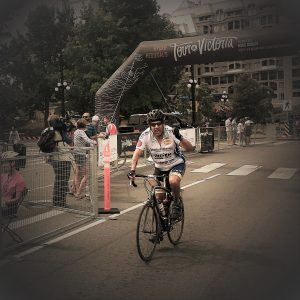 Mike Alexander finishing the 2018 Tour de Victoria